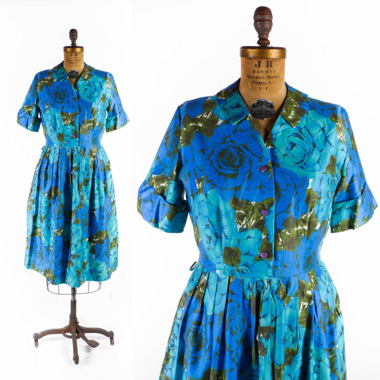 "Vintage 50's Floral Shirtwaist Dress // Bold Blue Roses Dress - sz L - 31-32"" Waist by SwellFarewell on Etsy"
