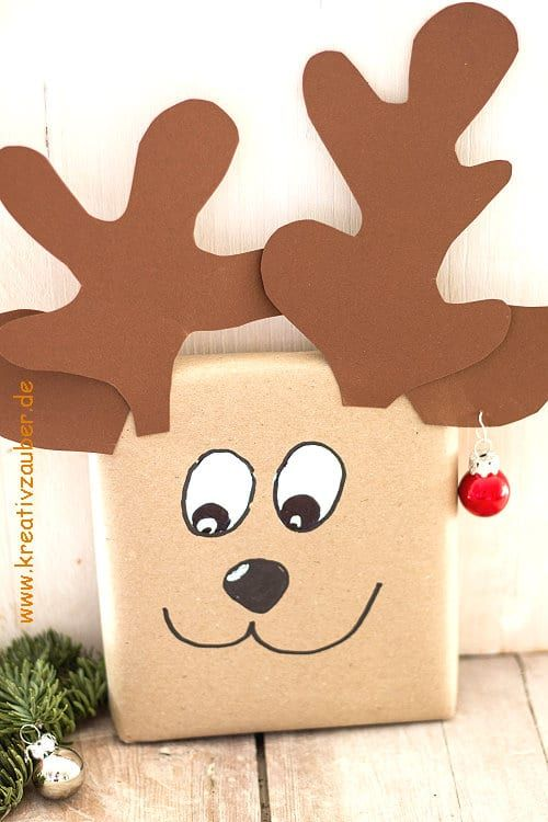 Geschenk verpacken originell: Elchi mit Ohrring