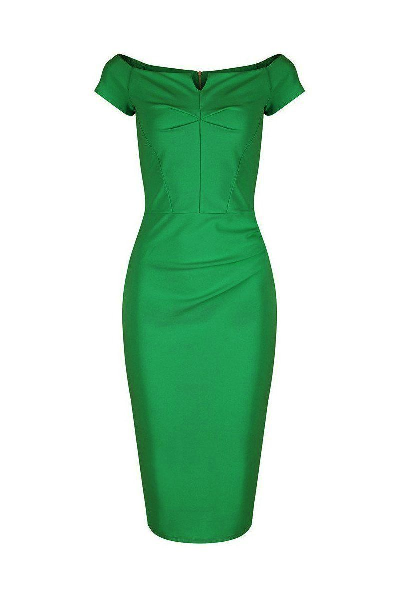 898dc615d Emerald Green Notch Neck 1940s Cap Sleeve Bodycon Pencil Dress ...