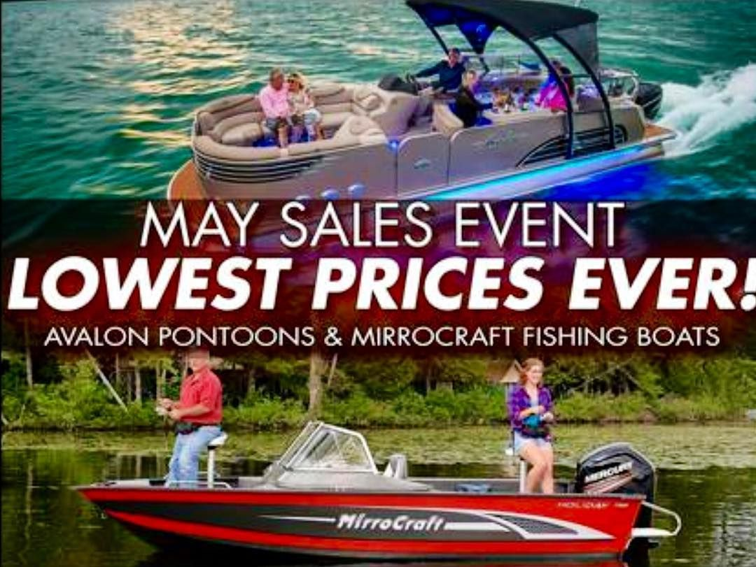 Check out our website for the best prices you'll find on #Avalon #Pontoons and #Mirrocraft #Fishing #Boats this May!!!