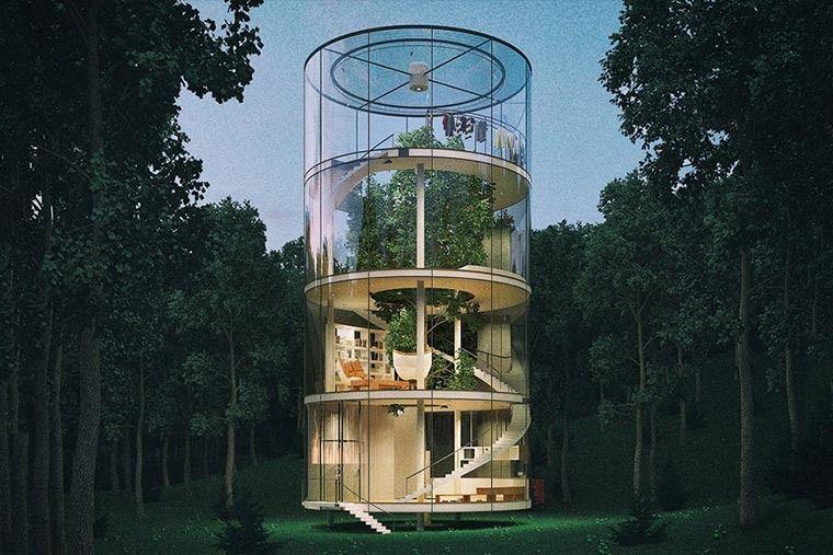 Hausbaum Statt Baumhaus - Gläserner Architektur-zylinder Https ... Modernes Baumhaus Pool Futuristisches Konzept