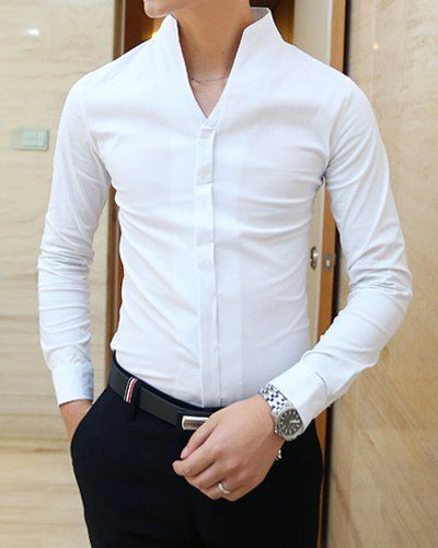 Simple Style Stand Collar Slimming Solid Color Long Sleeves