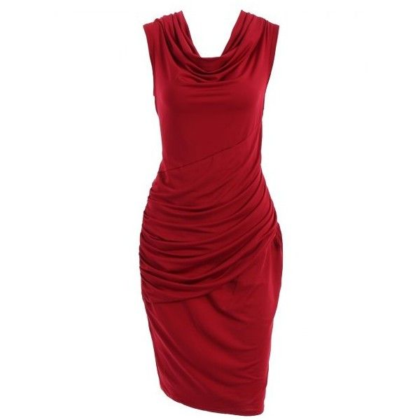Cowl Neck Sleeveless Pure Color Women's Draped Dress (980 RUB) ❤ liked on Polyvore featuring dresses, draped dress, red cowl neck dress, cowlneck dress, no sleeve dress and drapey dress