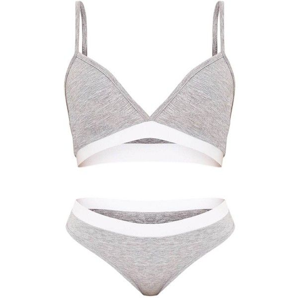 Basic Grey Jersey Bra and Knicker Set ( 14) ❤ liked on Polyvore featuring  intimates 99f44bbef