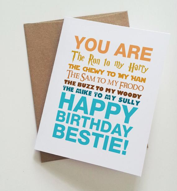 Geeky Best Friend Birthday Card Harry Potter Star Wars Lord Of The Rings Toy Story Mo