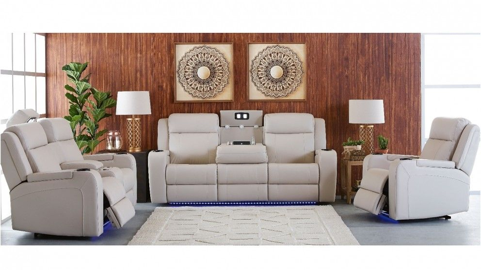 Marina 3 Seater Powered Recliner Leather Sofa - Living Room ...