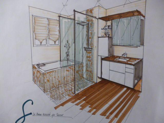 Croquis salle de bain interior perspective drawings for Croquis de salle de bain