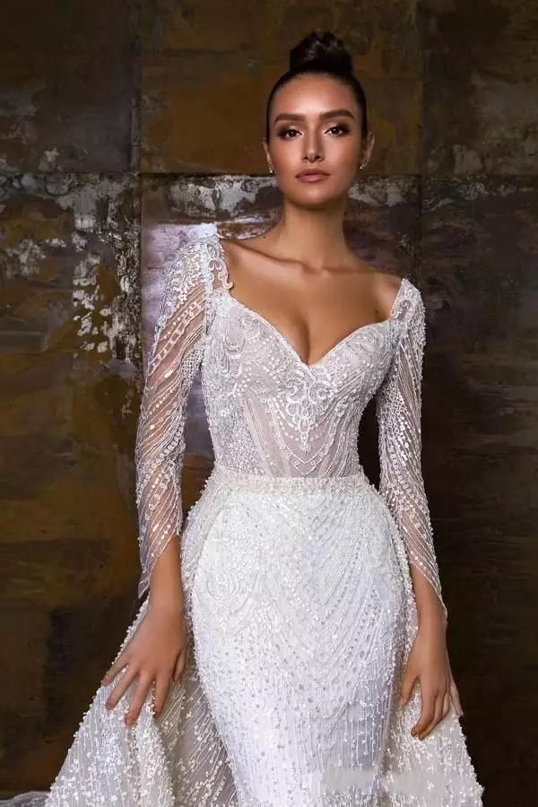 Photo of Vestido De Novia Sirena	2020 Sweetheart Mermaid Wedding Dress Beading Long Sleeve Wedding Gowns Detachable Skirt Mariage Dresses