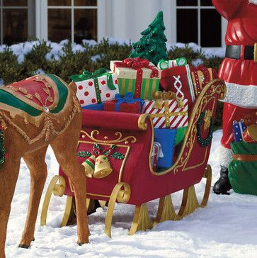 Fiber-optic Sleigh - Frontgate - Outdoor Christmas Decorations  traditional-holiday-outdoor-decorations - Fiber-optic Sleigh - Frontgate - Outdoor Christmas Decorations
