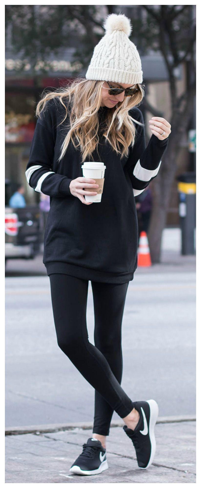 official photos d6d03 9f693 -Para el invierno -Mallas negras, sudadero negra, zapatos de tenis negros,  y un sombrero blanco -Cuestan  110 102.14€ -Clavado por  Aubrey DeVries