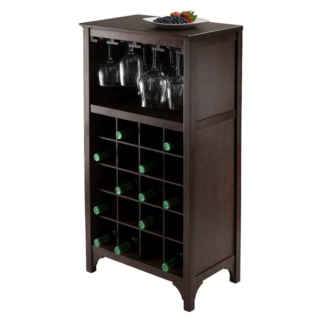 20 Bottle Glass Holder Wine Cabinet Wood Coffee Winsome Wine