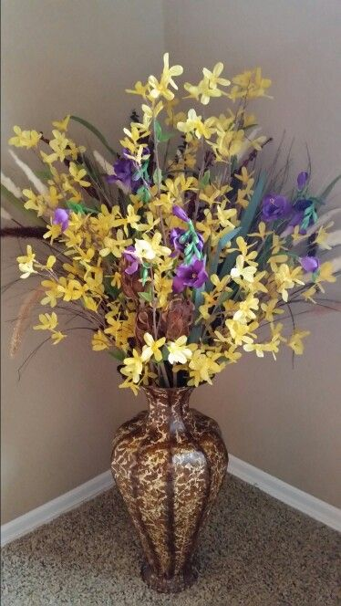 Another One Of My Diy Large Floor Vase Silk Flower Arrangements Flower Arrangements Plant Vase Large Floor Vase