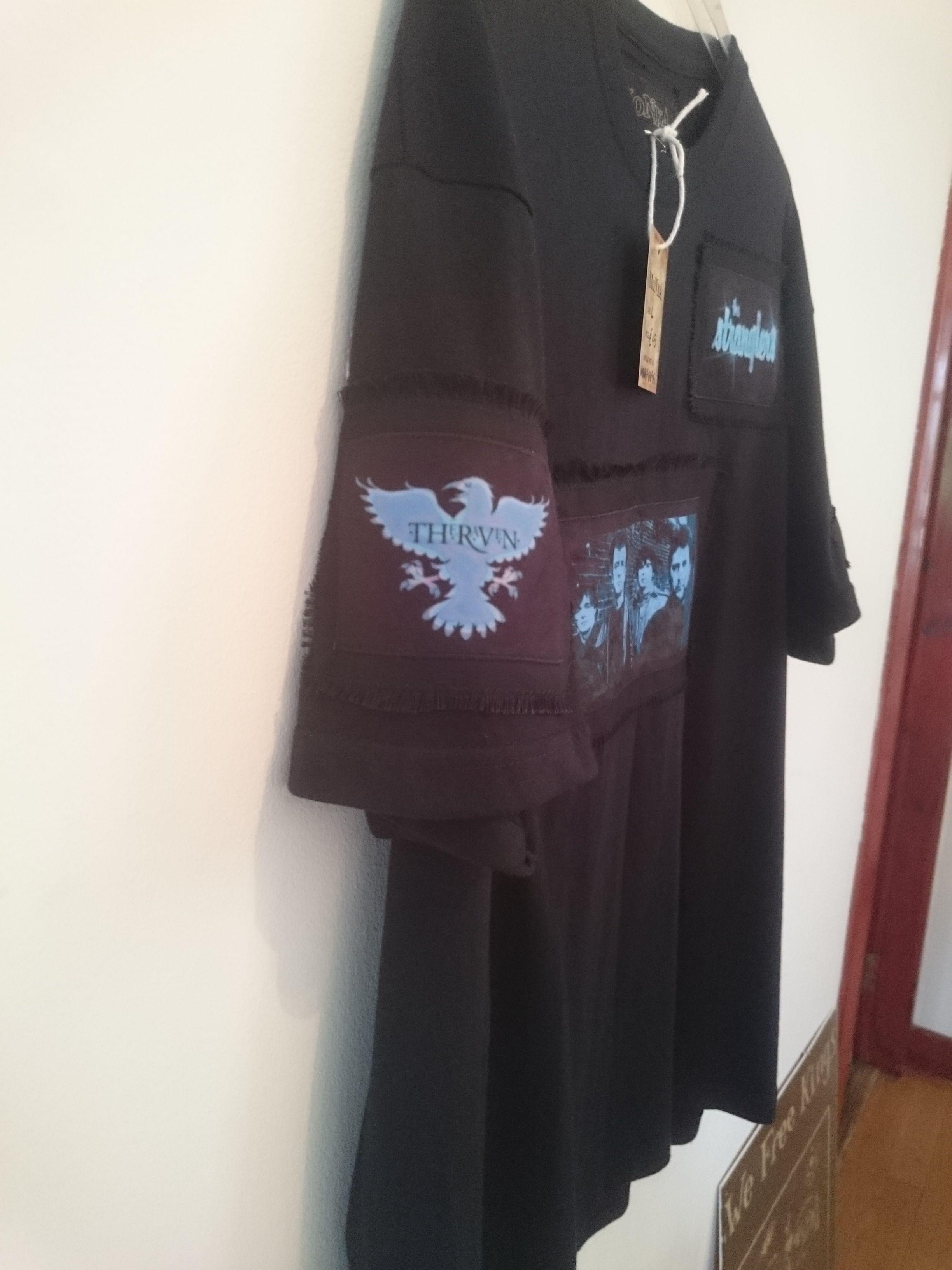 T-shirt design handmade - Stranglers In Blue T Shirt Design Handmade With