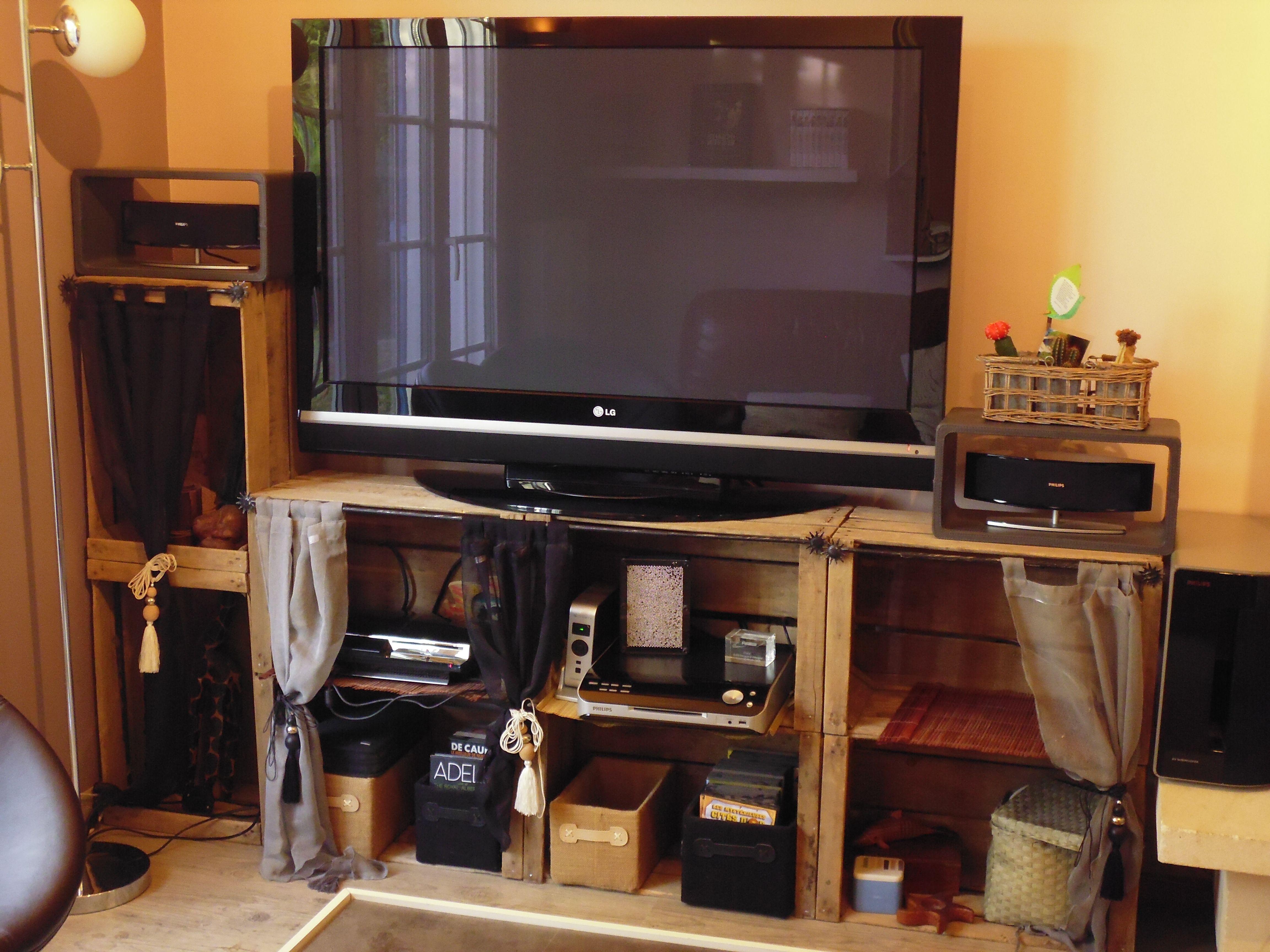 Crate Caisse Meuble T L Id Es Pinterest Caisse  # Meuble Tv Cagette