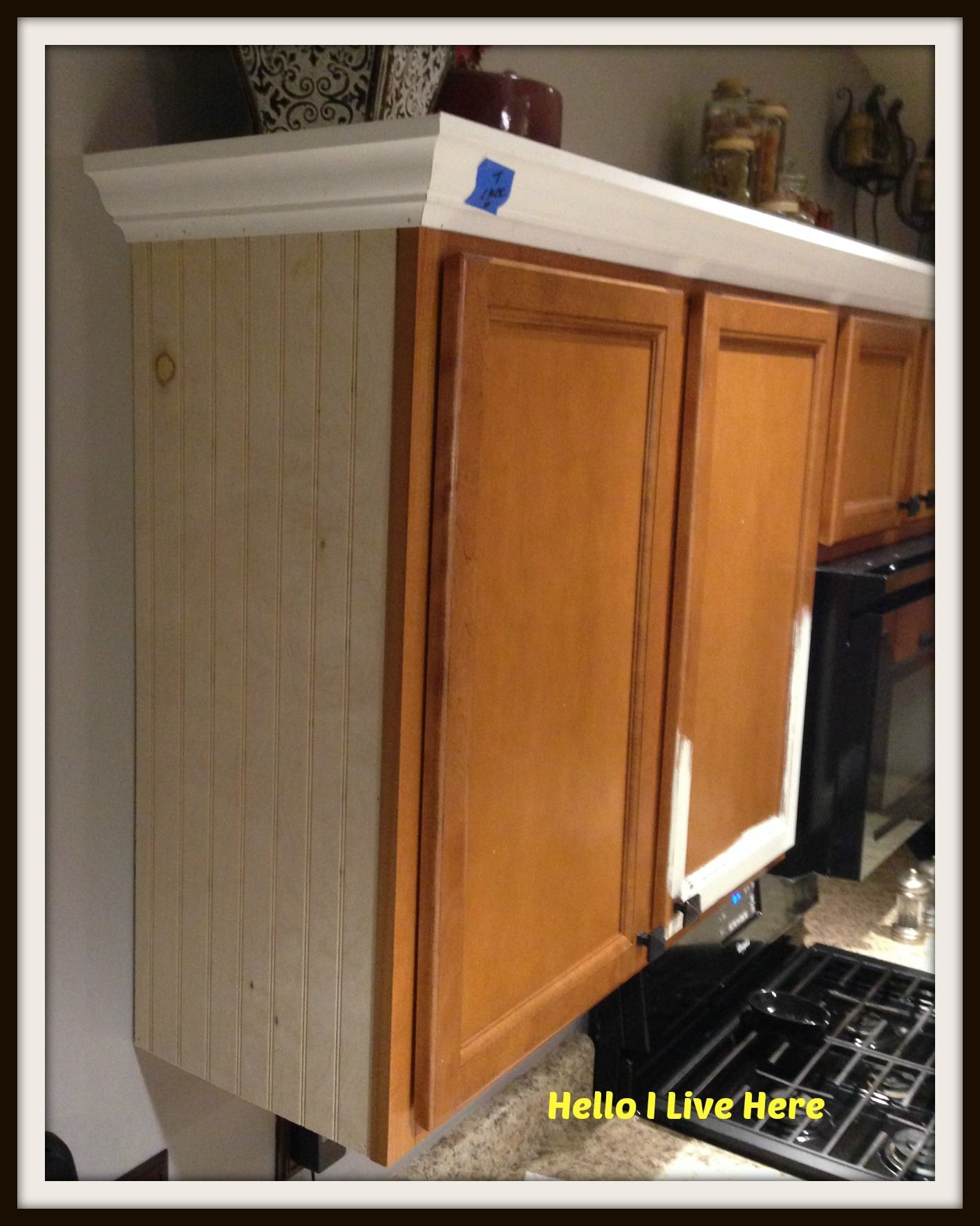 Kitchen Cabinet Makeover Install Crown Molding Http Helloilivehere Com Kitchen Cab Kitchen Cabinets Upgrade Kitchen Cabinets Trim Kitchen Cabinets Makeover