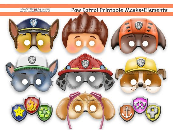 Unique PAW Patrol Printable Masks, Party Masks, Birthday, Decoration,  Ryder, Chase, Skye, Rocky, Zuma, Rubble, Costume, Photo Props, Disney
