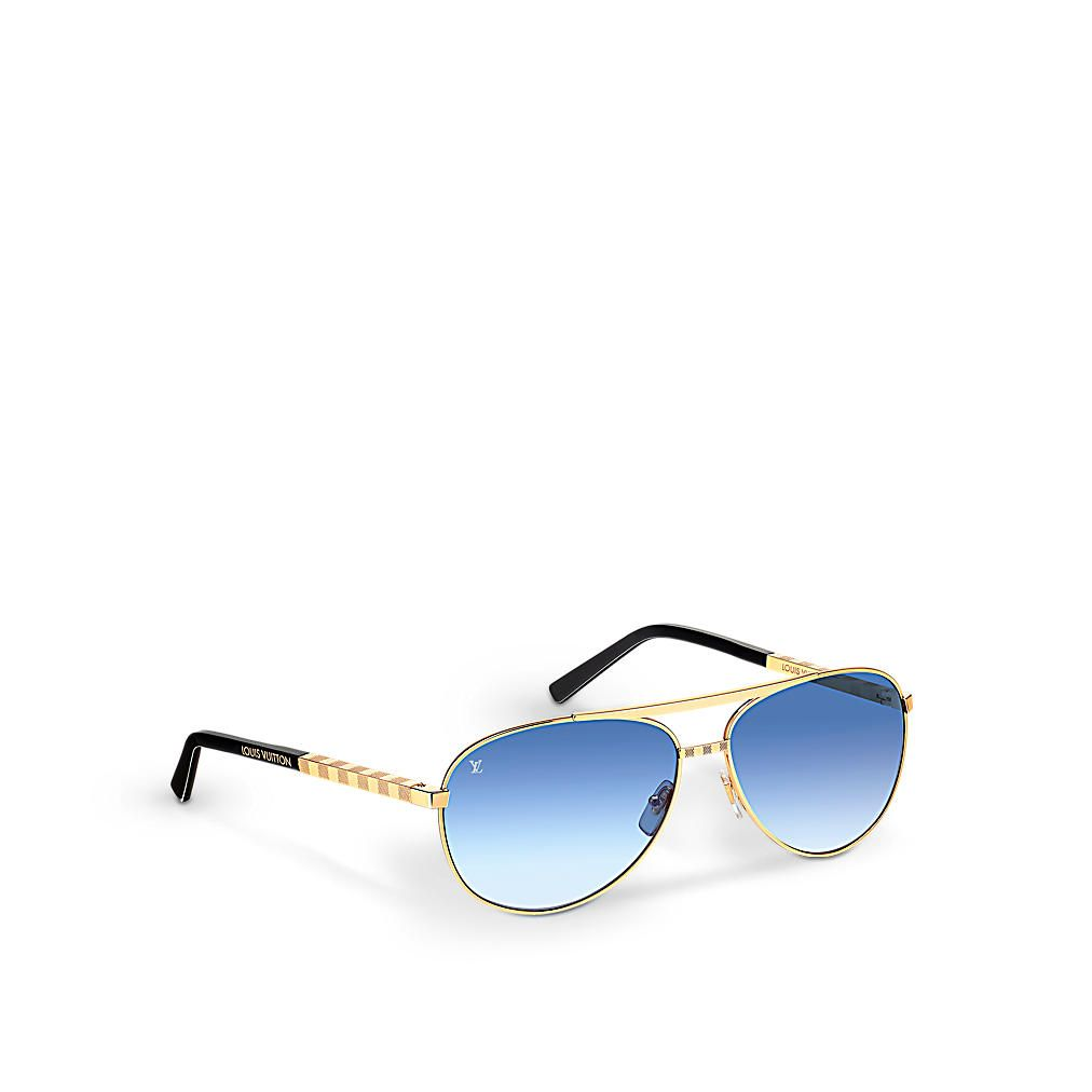 b132f04442 Louis Vuitton Attitude Pilote -  635.00 Z0789U Gold These aviator-style  sunglasses feature Louis Vuitton s historic Damier pattern in a matte and  shiny ...