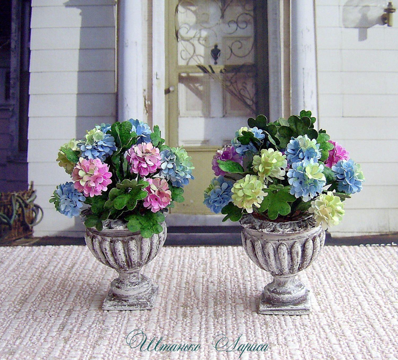 Blumenstrauß In Einem Topf. Miniatur Blumen. Realistische Pflanze Für Ihr  Puppenhaus. 01