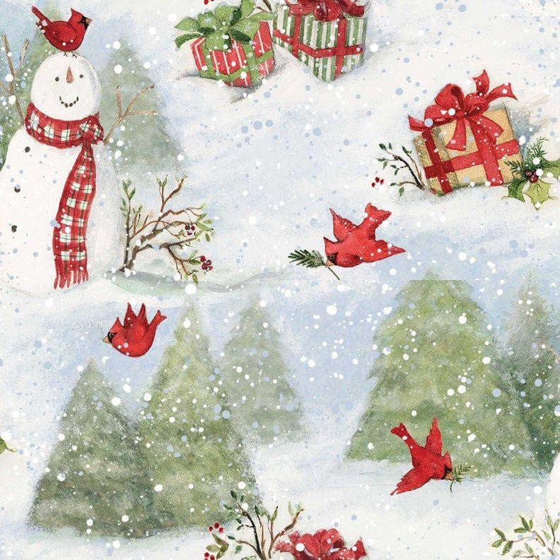Quilt Fabric, Snowy Cardinals, Cardinals, Christmas Tree