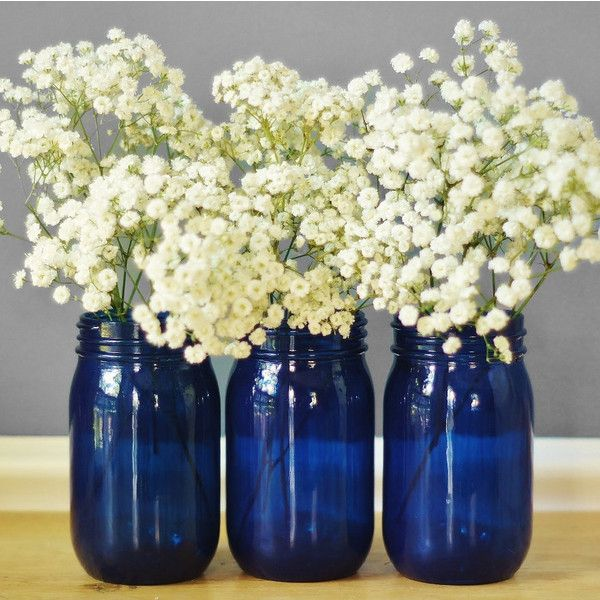 Set Of Three Cobalt Blue Glass Mason Jar Vases Cottage Chic Decor