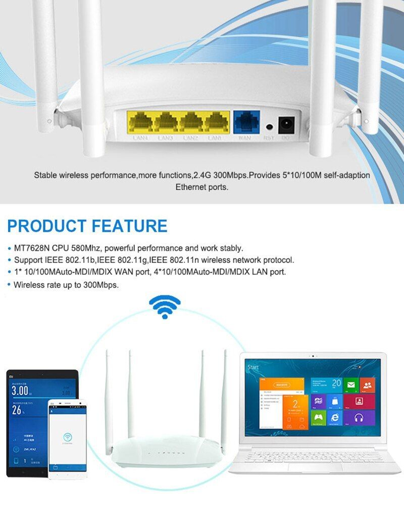 Cioswi 300mbps Wifi Router Openwrt 2 4g Wireless Router Access Point Easy Setup Mobile Router 4 Pcs High Mobile Router Router Access Point Wireless Networking