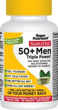 SimplyOne 50  Men Worlds highest potency best buy 50  Mens Multivitamin in an organic whole food-based tablet Superior protection for prostate, heart, memory and mental clarity while supporting calm, all-day energy 1 tablet per day Also available iron-free ORGANIC, WHOLE FOOD-BASED TABLETS Our nutrient sources are all hypoallergenic and gluten-free since 1977