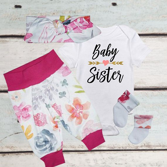 b262f5d4ffe1c BABY GIRL Coming Home Outfit Summer, Watercolor, Gender Reveal Ideas, Baby  shower gift, Baby Headband, Newborn girl, Best selling items