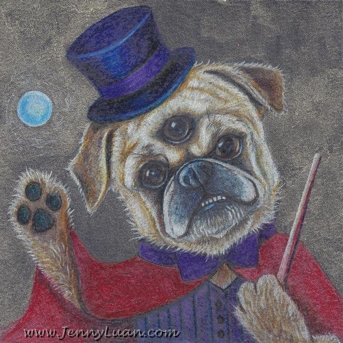 Original 3 5x3 5 Whimsical 3 Eye Pug Dog Magic Show Nfac Drawing