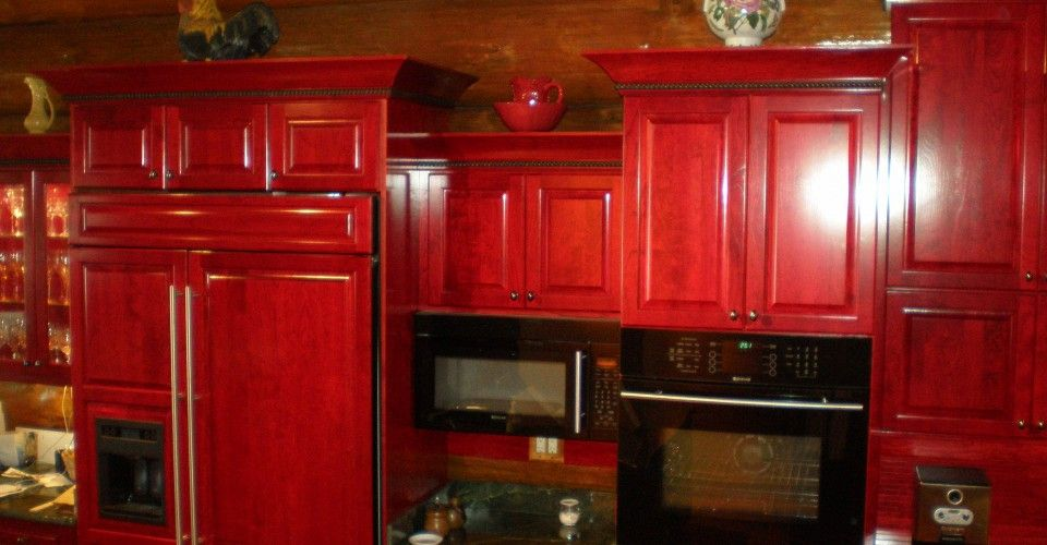 Red Stained kitchen cabinets - Google Search | Stained ...