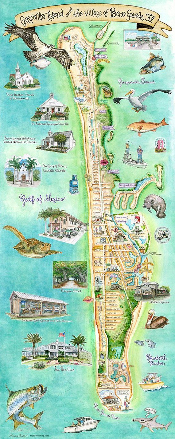 Little Gasparilla Island Map Gasparilla Island and the village of Boca Grande giclee print 12
