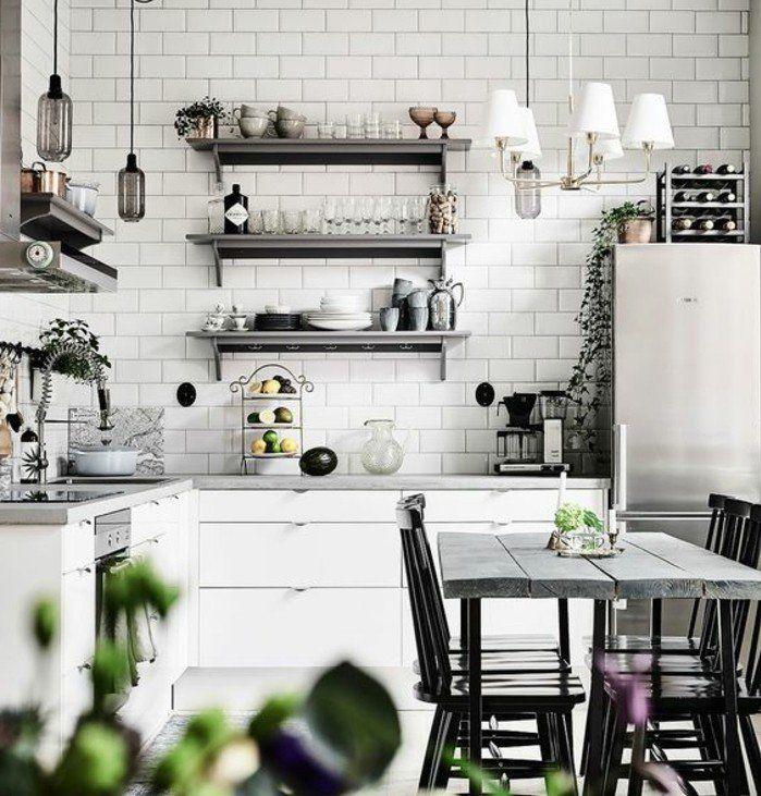 deco industrielle pour une cuisine vintage chic, mur carrelage blanc ...