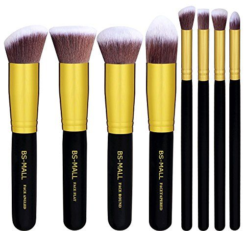 BSMALLTM Premium Synthetic 8 PCS Makeup BrushesGolden Black -- Want additional info? Click on the image.