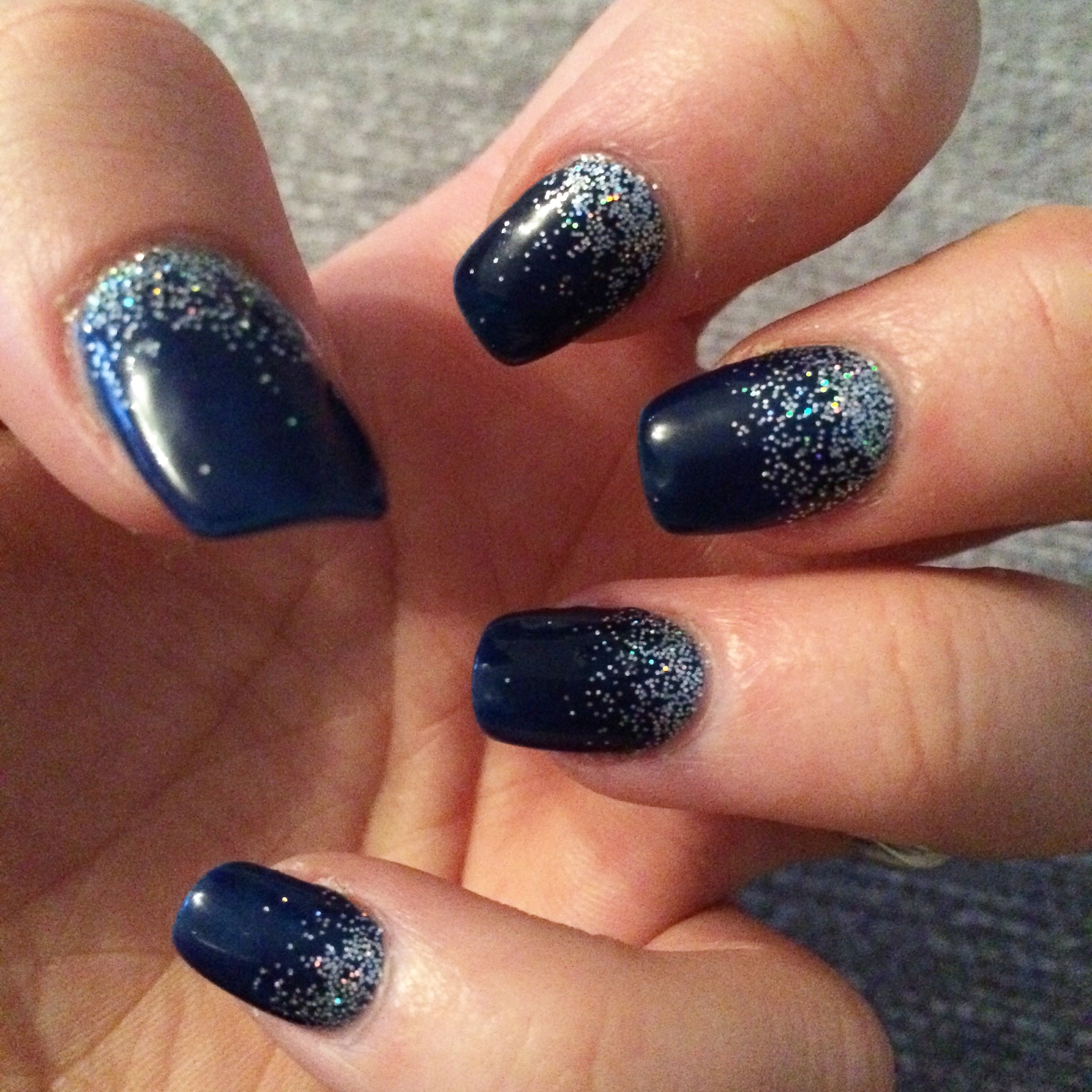 navy blue silver glitter fade nails | prom shit | pinterest