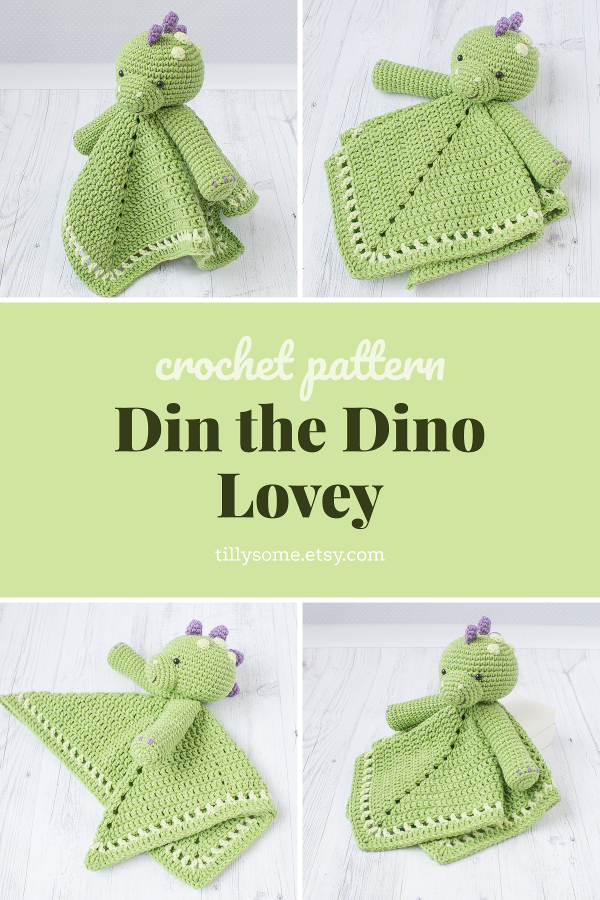 Crochet Pattern Security Blanket Din the Dino Lovey | Security Blanket Pattern | Crochet Lovey Pattern | Baby Animal Blanket — PDF Crochet #securityblankets Din the Dino Lovey is a plush toy and security blanket all in one! He will become a good friend for your baby.The pattern is very easy to follow: it contains detailed text instructions and 55 photos on 14 pages. Written in US crochet terms. #securityblankets Crochet Pattern Security Blanket Din the Dino Lovey | Security Blanket Pattern | #crochetsecurityblanket