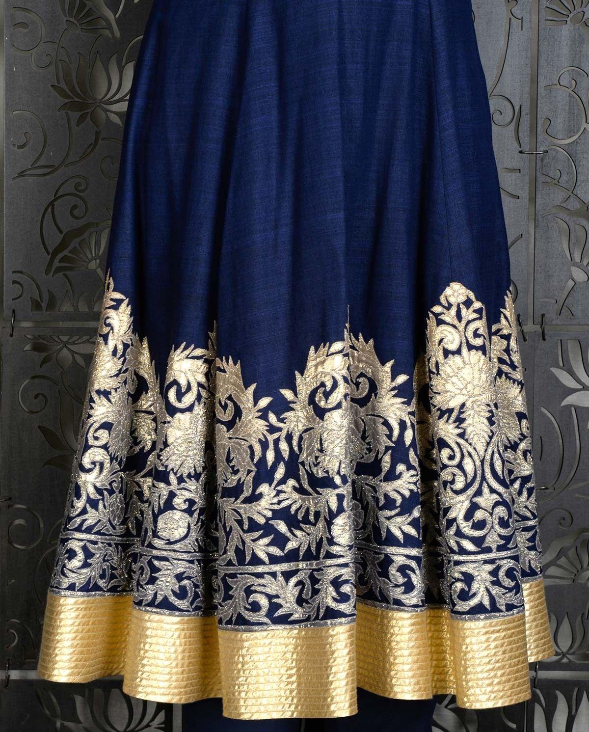 Indigo kalidar with embellished hem saris and lehengas pinterest