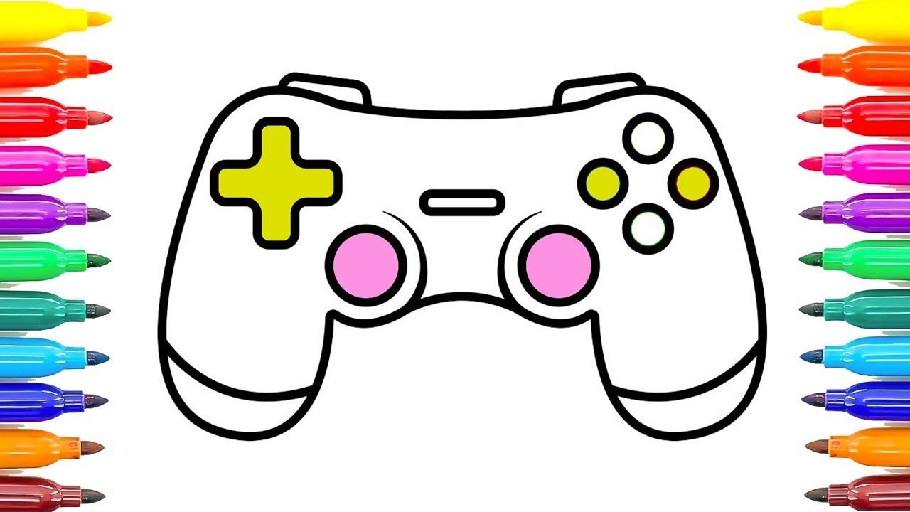 Gamepad Controller Coloring Pages How To Draw Game Controller Learn Colors Coloring Painting Learning To Draw For Kids Drawing For Kids Learning Colors