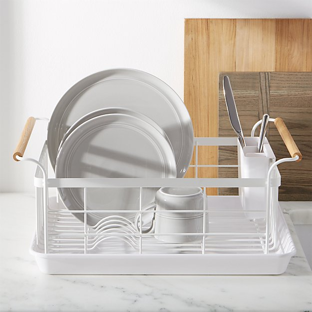 [ Priority ★★★★★ ] Tosca White Dish Rack with Wood Handles + Reviews | Crate and Barrel #dishracks