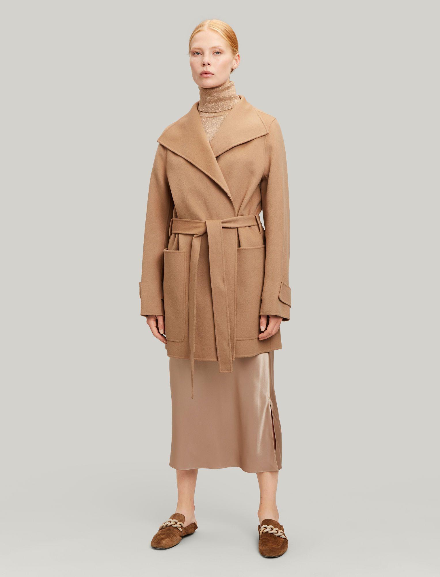 7eb65130fa3 Joseph, Lista Short Double Wool Gloss Coat, in CAMEL | AW19 in 2019 ...