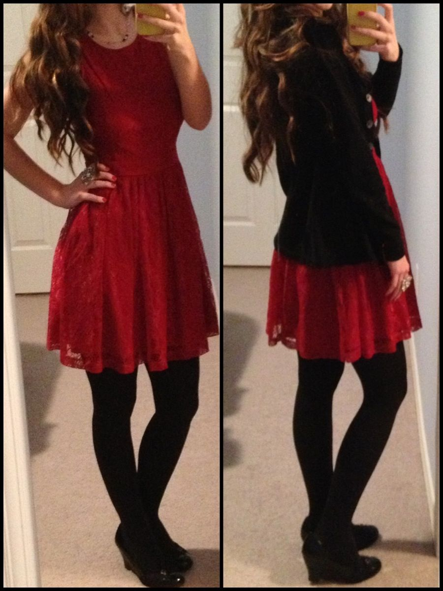 Christmas Eve Mass Outfit 2013 Red Lace Dress With
