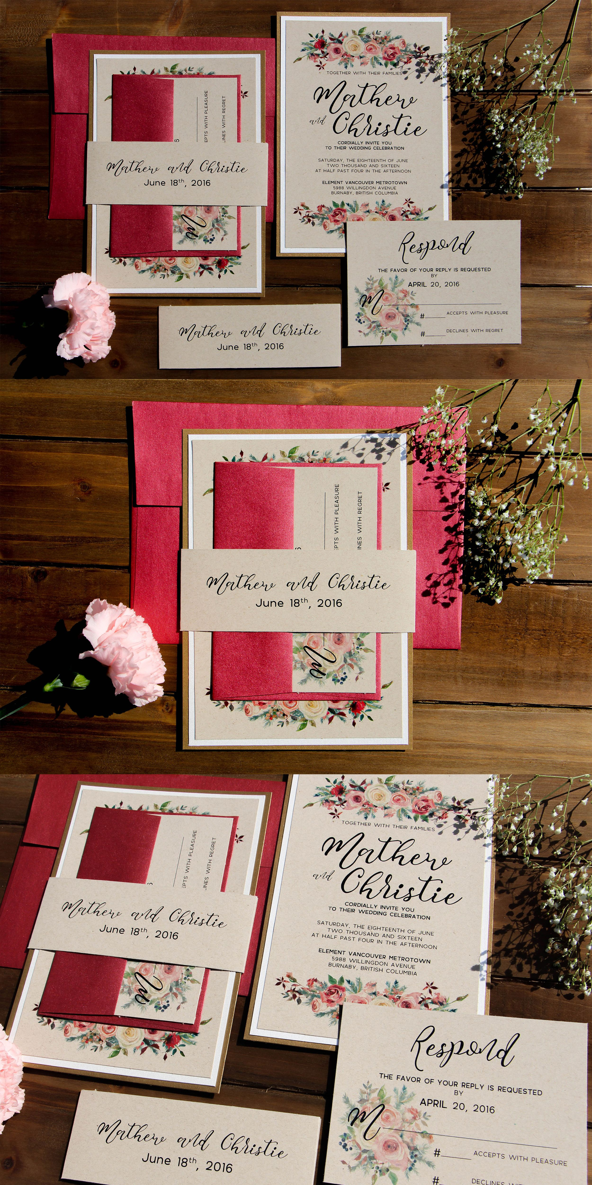 Rustic Romantic Rose Kraft Wedding Invitation Suite| Gold and ...