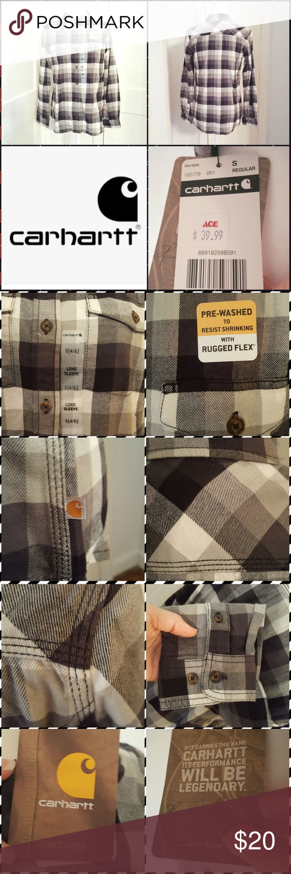 NWT Carhartt Womens-Small long sleeve shirt. NWT Carhartt women's size small (4-6) black and white plaid, triple stitched, button down shirt. Well made shirt. Tops Button Down Shirts #carharttwomen NWT Carhartt Womens-Small long sleeve shirt. NWT Carhartt women's size small (4-6) black and white plaid, triple stitched, button down shirt. Well made shirt. Tops Button Down Shirts #carharttwomen
