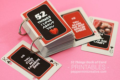 Downloadable template - add text and print! 52 Things I Love About You Deck of Cards Album