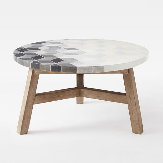 mosaic tiled coffee table - isometric concrete top | towerhill, Attraktive mobel