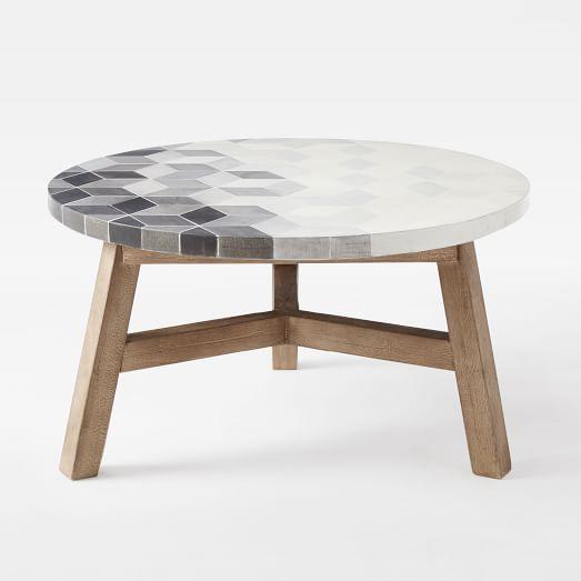 mosaic tiled coffee table - isometric concrete top | towerhill, Attraktive mobel
