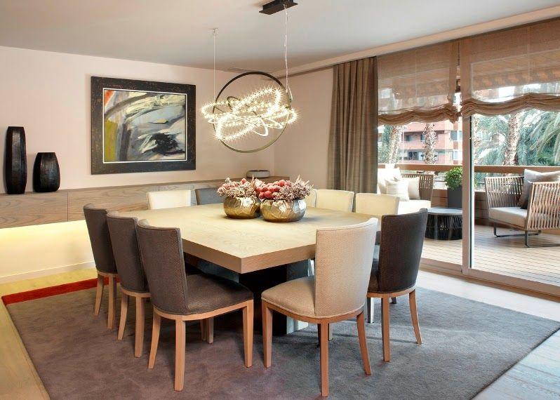 Mesa cuadrada y diez sillas deco pinterest dining for Mesas y sillas de madera para cocina