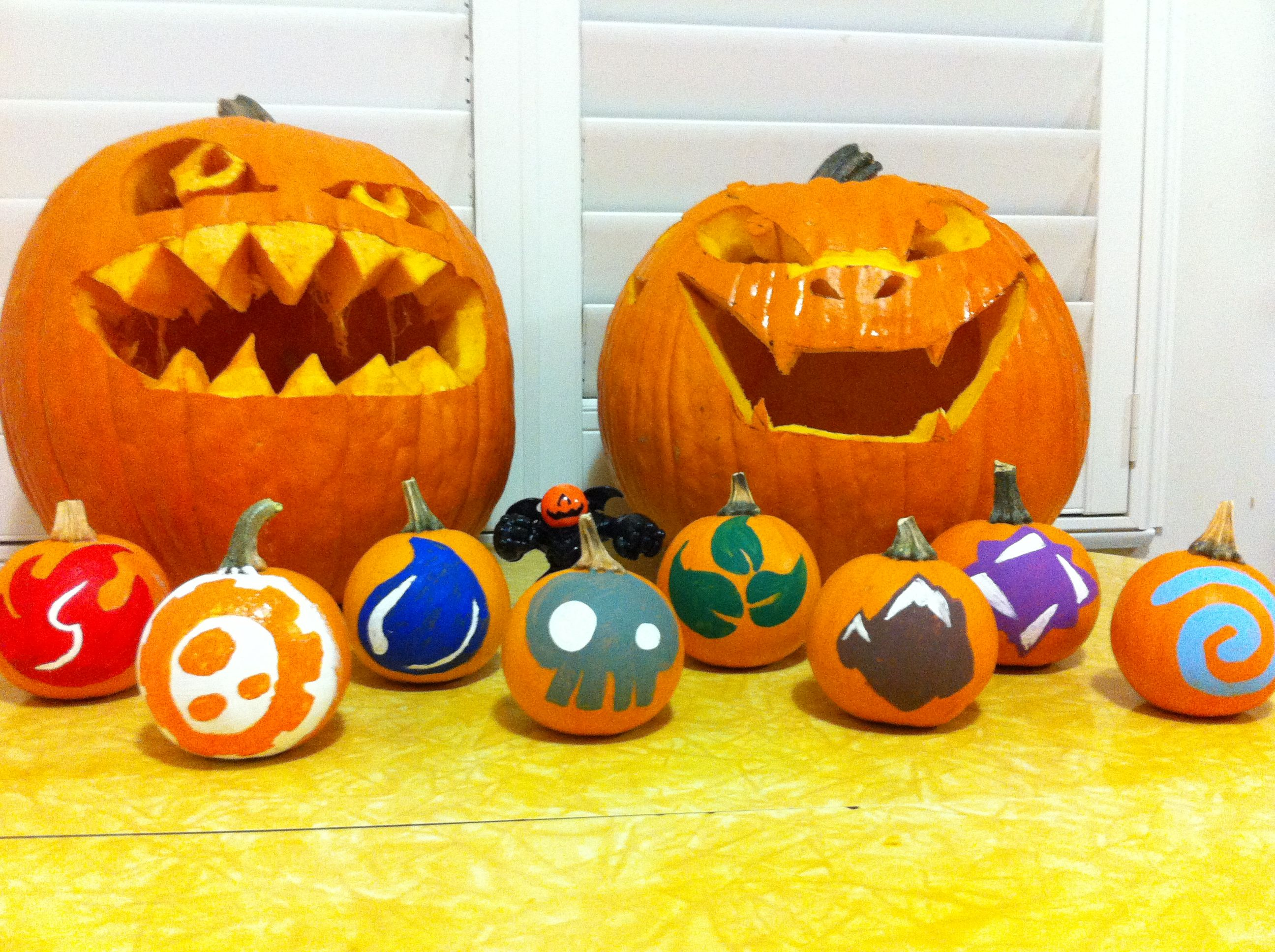 Our skylander themed pumpkins from camo back right