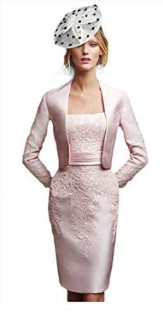 82eeaf522e6 Eudolah Women s Suit with Jacket Embroider Lace Mother of the Bride Dress   Amazon.co.uk  Clothing