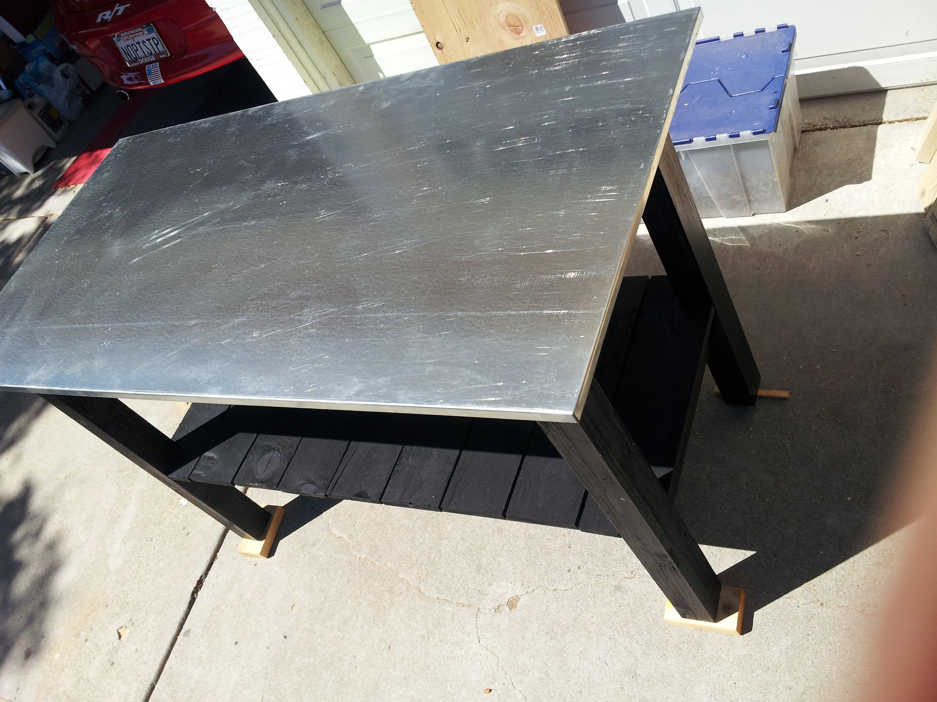 Finished Ranch Food Prep Table Galvanized Steel Top Lower Shelf