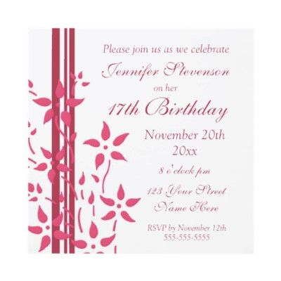 Floral 17th birthday party invitations pinterest 17 birthday floral 17th birthday party invitations by dreaming mind card stopboris Images