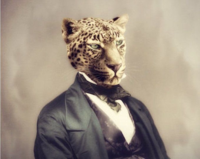 Katze Kunstdruck Lynx Tier Kunst anthropomorphe Tiere in